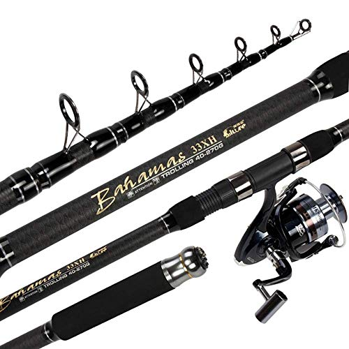 Travel Portable Telescopic Fishing And Reel Combination Kit, Long Shot Rod Sea Otter Set Long Section Throwing Mast Full Set-2.7m, 3.0m, 3.3m, 3.6m, 3.9m, 4.2m, 4.5m (Size : 3.3m)