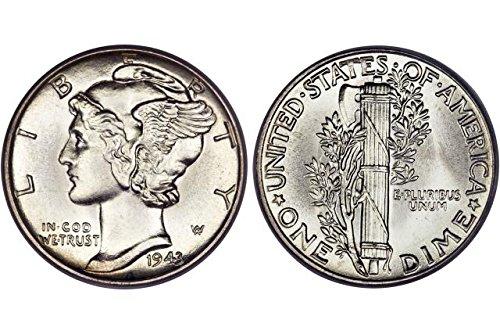 1943 Gem Brilliant Uncirculated Silver Mercury Dime Choice BU ()