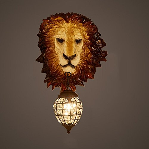HOMEE Wall lamp- retro loft industrial wind creative imitation animal resin lion wall lamp hotel restaurant cafe bar aisle wall lamp --wall lighting decorations by HOMEE