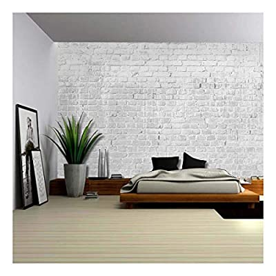 Gray and Grungy Brick Wall with Dripping White Paint Wall Mural Removable Wallpaper, Quality Artwork, Grand Piece of Art