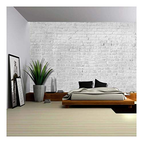Gray and Grungy Brick Wall with Dripping White Paint Wall Mural Removable Wallpaper
