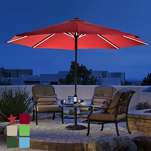 Patio 9 ft Solar Powered LED Lighted Outdoor Umbrella Table Market Umbrella with Crank Handle, with USB Charger for iPhone, iPad, and other Smart Devices, 8 Aluminium Ribs, Polyester Canopy (Red)