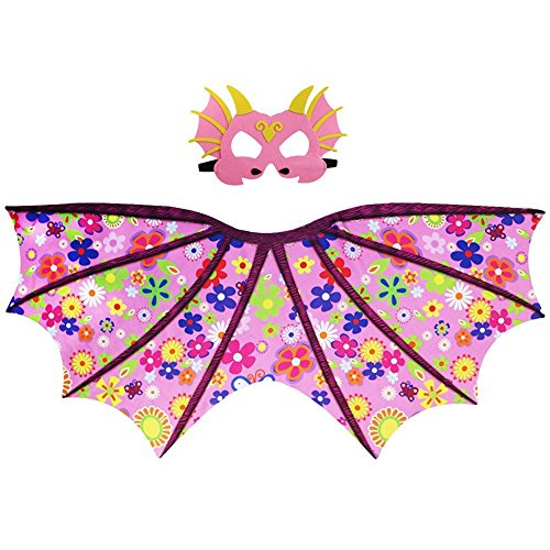 Starkma Kids Girl Dragon Dinosaur Flower Pink Wing Costume Cape and Mask ()