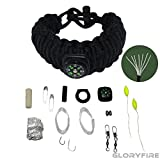 550 cord bracelet fire starter - GLORYFIRE Paracord Bracelet with 19 in 1 Compass 550lbs Military-grade Nylon Multifunctional Outdoor Survival Gear Flint Fire Starter Fishing Camping Kit with Scraper Black