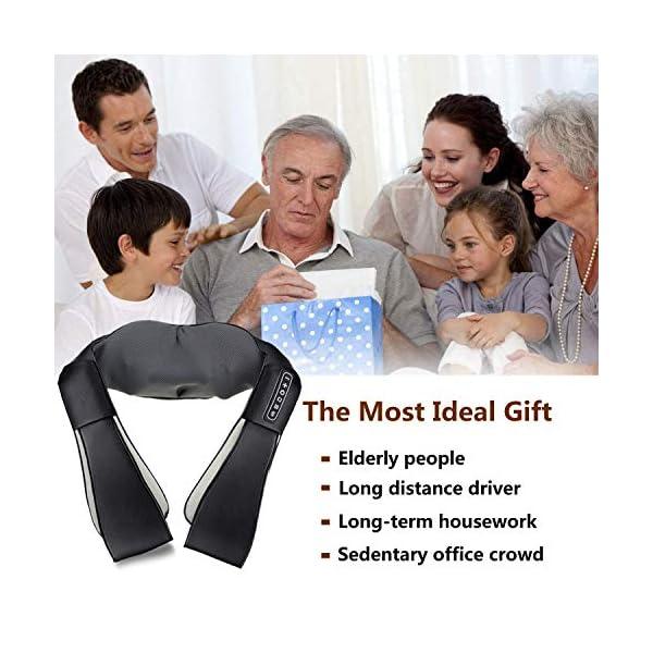 UKEER Massaggiatore Cervicale e da Collo, 3D Shiatsu Massaggiatore per Collo e Spalle rullo massaggio muscolare Con… 7 spesavip