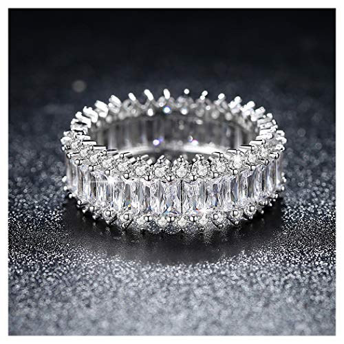Natasa 14K White Gold Princess Cut All-Around Band Wedding Ring (Size 5)