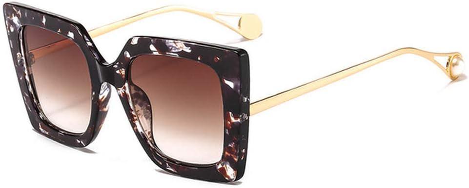 ZYJ Nuevas Gafas de Sol de Perlas cuadradas Elegantes para Mujer Gafas de Sol graduadas de Gran tamaño de Moda Caliente Gafas de Sol para Mujeres Protección UV Gafas de Sol para Mujer