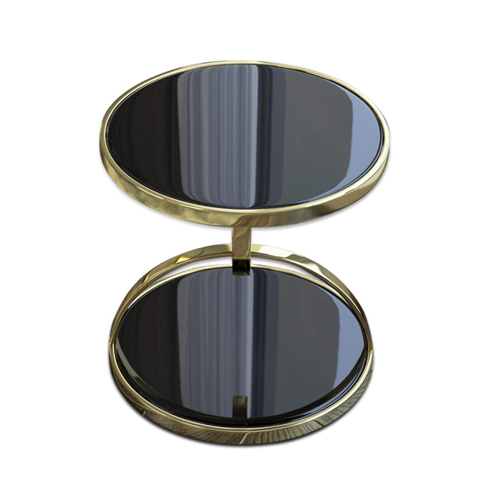YD サイドテーブル メタルラウンドテーブル、ソファサイドテーブルメタル、強化ガラスリビングルーム2層マルチファンクションコーヒーテーブルサイズ:58x48cm /& (色 : 黒) B07MG92GL8 黒