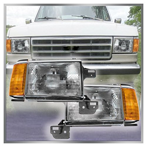 - Headlights Headlamps w/Chrome Trim Pair Set for 87-91 Bronco F-Series Truck