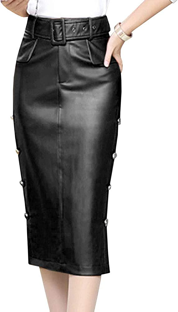 LPATTERN Falda de Tubo Cuero de PU por la Rodilla para Mujer Midi Falda de Piel Sintética Lápiz con Cinturón