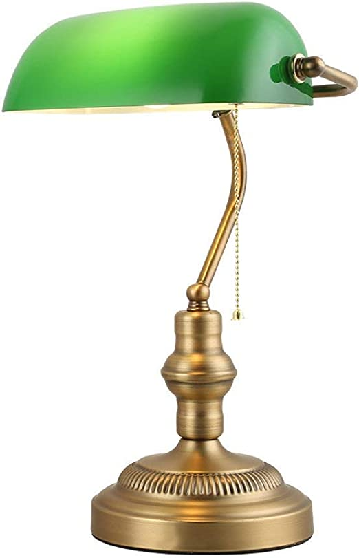Desk Lamp-Retro Green Glass Table Lamps Bedroom Bedside Bank ...