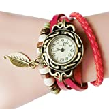 Hemlock Teen Girl's Watches, Women PU Leather Band Leaf Pendant Bracelet Watch Retro Wrist Watches (Red)
