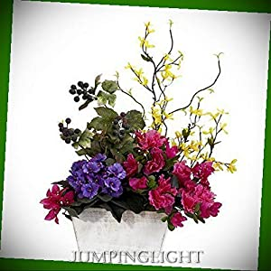 JumpingLight 1270 Mixed Floral with Azalea & White Wash Planter Silk Arrangement Artificial Flowers Wedding Party Centerpieces Arrangements Bouquets Supplies 6