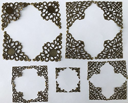 MINI Scrapbooking Embellishment Antique Bronze Shape Corner Frame Designs Paper Filigree Metal Stamping Making Art Craft Tools