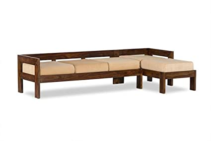MP Enterprieses Solid Wooden Sofa Cum Couch With Base Cushion For Living  Room | Set Of