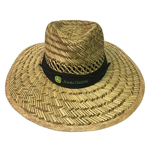 John Deere Brand Black Straw Hat with Neck Strap