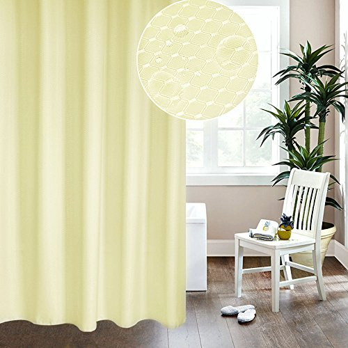 UFRIDAY Waffle Weave Polyester Shower Curtain Mildew-Resistant and Waterproof with Rust Proof Metal Grommets, Elegant Design Fabric Shower Curtain Honeycomb for Home/Hotel, Beige, Stall Size, 36 x 72