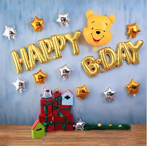 ration, Happy birthday Letters alphabet, foil balloon decoration, celebration birthday party decoration (Happy birthday decoration-A) (Pooh Foil Balloon)