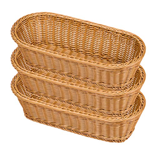 Natural Wicker Bread Basket,Long Woven Tabletop Food Fruit Multifunctional Sturdy Storage Serving Basket(3 PACKS)