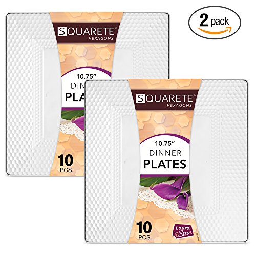 2 Square Plate (Squarete Hexagons Crystal Clear Hard Plastic Elegant Disposable 10.75'' inch Square Dinner Plates 10 Plates Per Package Pack Of 2)
