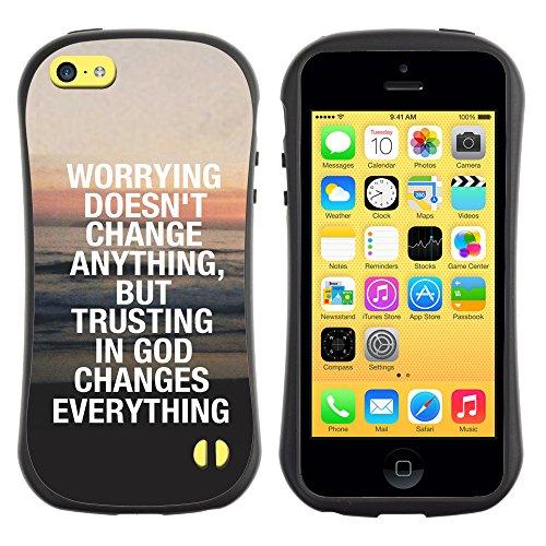 DREAMCASE Citation de Bible Silicone et Rigide Coque Protection Image Etui solide Housse T¨¦l¨¦phone Case Pour APPLE IPHONE 5C - TRUST IN GOD CHANGES EVERYTHING