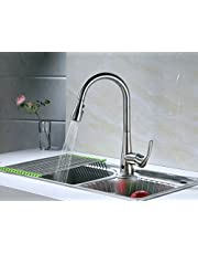 """RunFine RF412001 Group Patented Design Hands Free Sensor 8"""" Deck Kitchen Faucet with Brushed Nickel Finish, 3 Function Spray head, Neoperl Aerator, & Ceramic Cartridge with single Handle Hot & Cold Mixer"""