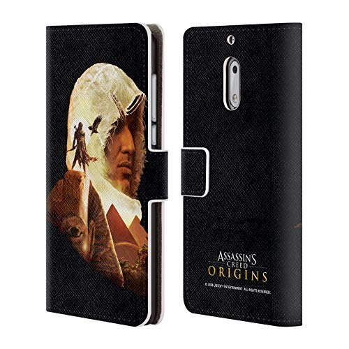Official Assassin's Creed Bayek Sphinx Origins Character Art Leather Book Wallet Case Cover for Nokia 6
