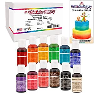Amazon.com : 12 Food Color-US Cake Supply by Chefmaster Liqua-Gel ...