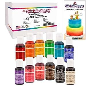 12 Food Color-US Cake Supply by Chefmaster Liqua-Gel Paste Cake Food Coloring Set - The 12 Most Popular Colors in 0.75 fl. oz. (20ml) Bottles