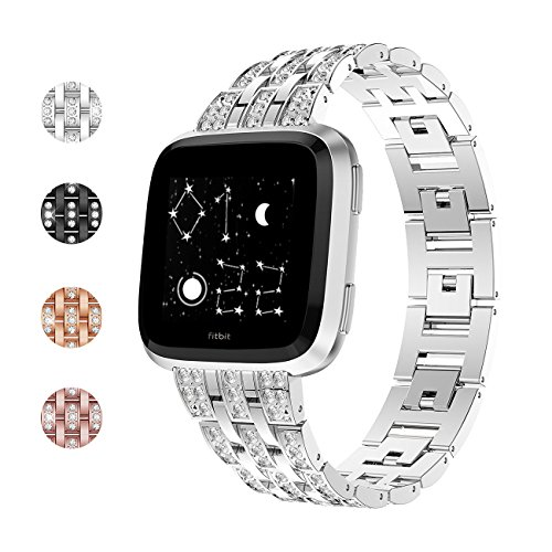 Fundro Bands Compatible with Fitbit Versa/Versa 2, Bling Stainless Steel Metal Bracelet Replacement Band Wristband Accessories Strap with Rhinestones for Women (Silver)