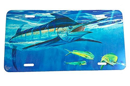 Lobo Lures LPG Big Game Marlin Mahi and Tuna Fishing Aluminum License Plate (Bill Buster - Marlin Plate