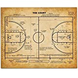 Basketball Court – 11×14 Unframed Patent Print – Great Game Room Decor or Gift for Basketball Coaches For Sale
