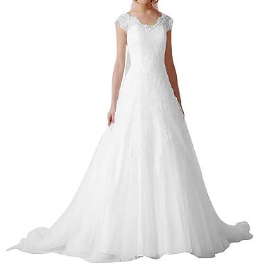 860edb3d4f2 VKStar® Robe de Mariée Princesse en Tulle de Dentelle Robe Mariage Femme  Longue à Traîne Robe Mariée Femme Dos Nu Elégante Blanc 56  Amazon.fr   Vêtements et ...