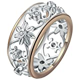 Exquisite Women's 925 Sterling Silver Ring Proposal Gift 18K Rose Gold Sexy Vine Flower Floral Ring Bridal Engagement Ring Wedding Band Size 6-10 (6)