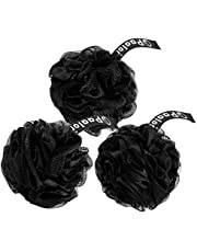 Paalor Loofah-Pack of 3, Black Shower Sponge with Double Knotted Core and Hanging Ribbon-Bath Sponge Mesh shower puff, Creates a Rich Lather for Gentle Cleansing, Exfoliating