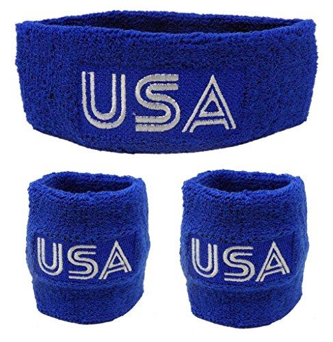 Funny Guy Mugs Retro USA Unisex Sweatband Set (3-Pack: 1 Headband & 2 Wristbands)
