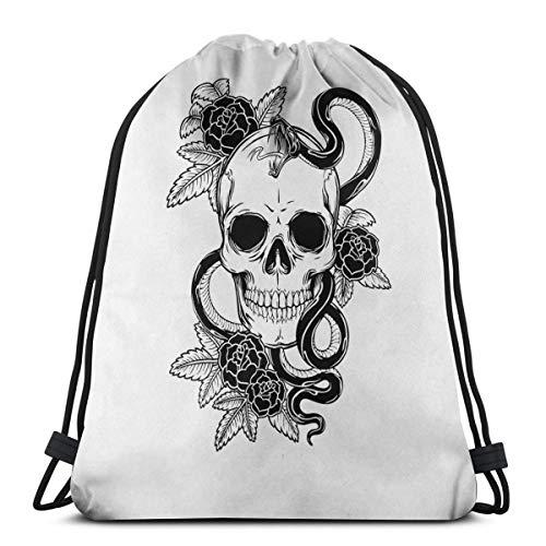 Wangchangjin Drawstring Bags Skull Snake Sport Gym Tennis Casual Daypack Backpacks Swimming Hiking Yoga Portable Travel for Women and Men ()