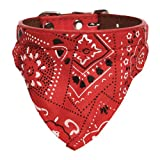 LuckyStore Pet Cat Dog Puppy Adjustable Leather Bandana Scarf Collar Neckerchief Costume Red 1.5cm