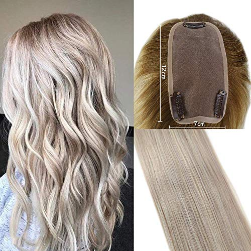 Easyouth Hidden Crown Hair Topper Extensions Human Hair 16Inch Ash Blonde Highlight With Yellow Blonde Color Base Size 12x7CM Remy Hair Extensions Quality Crown Topper Hair Extensions
