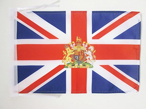 AZ FLAG United Kingdon Coat of arms Flag 18'' x 12'' Cords - UK - British - England Small Flags 30 x 45cm - Banner 18x12 in