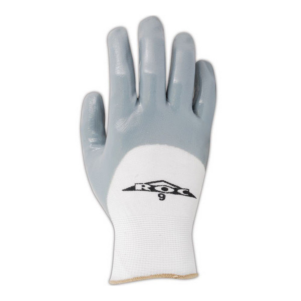 Magid Glove & Safety GP162-8 Magid ROC GP162 Nitrile 3/4 Coated Gloves, 10, White, 8 (Pack of 12)