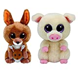 "Ty Beanie Boos Kangaroo Kipper and Pig Piggley 6"" Reg Plush set (free gift with purchase)"