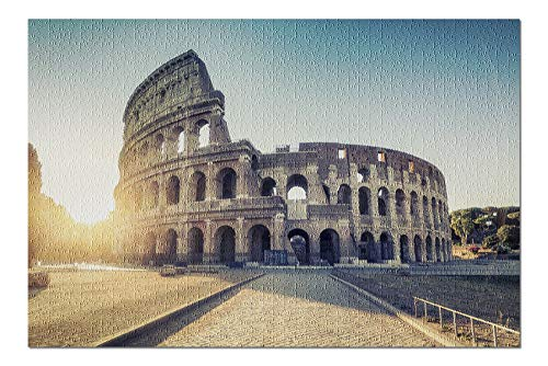 Rome, Italy - Sunrise at the Colosseum - Photography A-91569 (20x30 Premium 1000 Piece Jigsaw Puzzle, Made in ()