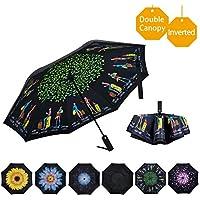 VIWINVELA Inverted Automatic Umbrella Double Layer Windproof Reverse Folding Umbrella