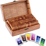 Aution House - Vintage Wooden Rubber Letter Number Stamp Set + Colorful Ink Pad - Multipurpose DIY Diary Cards Stamps Craft, 70 pcs Alphabet Letter Number Symbol ( KIDS) (70 pcs + 6 color ink pad)