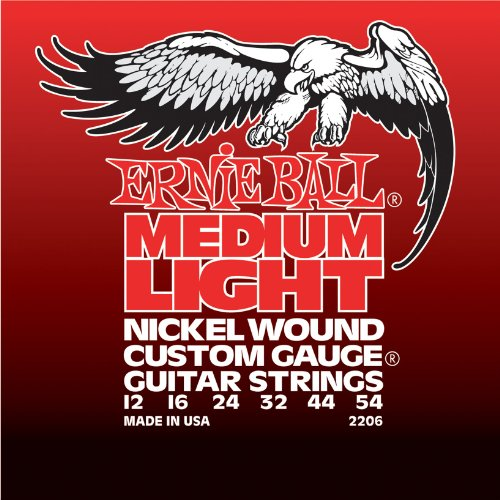 Nickel Wound Medium Electric Guitar (Ernie Ball Medium Light Nickel Wound Set with wound G, .012 - .054)