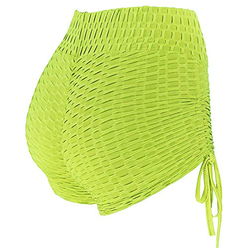 lumiyo Women's Sport Fitness Gym Stretchy High Waisted Ruched Butt Lifting Workout Running Yoga Shorts (L, Fluorescent Yellow)