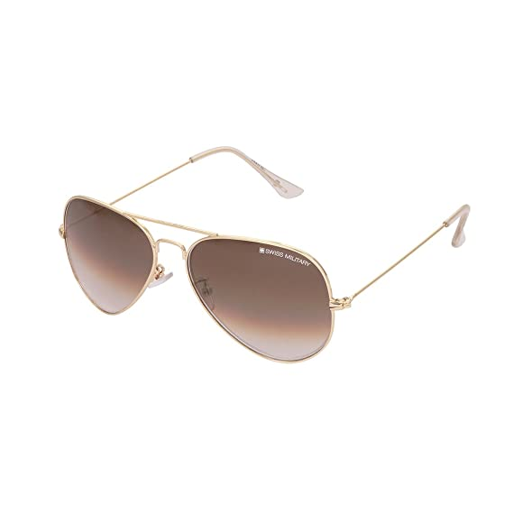 d1db166e5c Swiss Military UV Protected Aviator Unisex Sunglasses - (SUN4|58|Brown Color  Lens): Amazon.in: Clothing & Accessories