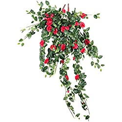 Rose Flower Vine Artificial Plant for Valentine's Day Gift Pack of 2 (Red)