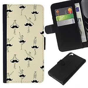 KLONGSHOP // Tirón de la caja Cartera de cuero con ranuras para tarjetas - bigote bailarina de ballet arte divertido - HTC Desire 820 //
